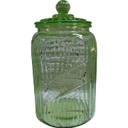 Hocking Transparent Green Canister with Glass Lid Vintage Kitchen Decor