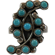 Native American Petit Point Turquoise Silver Ring Size 7.25