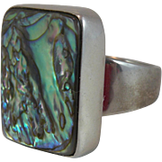 Sterling Silver Abalone Ring with Gecko Hallmark Size 9