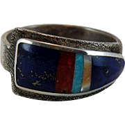 Native American Sterling Silver Inlay Ring with Lucky Hallmark Size 13.5