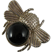 Sterling Silver Onyx Bumble Bee Pin Brooch with Hallmark