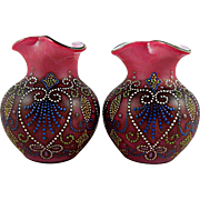 Victorian Pink Glass Vases with Hand-painted Enamel