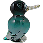 SOLD Murano Blue Glass Duck with Long Bill