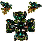 Beau Jewels Tiered Green Brooch Pin with Matching Earrings