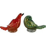 SALE Vintage Murano Glass Birds in Red & Green dusted with Gold