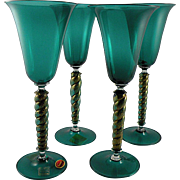 Seguso Murano Teal Wine Glass Set with Spiral Stems, Label