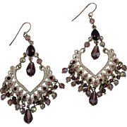 Vintage Dangle Earrings with Rhinestones and Beads, Boho Chic