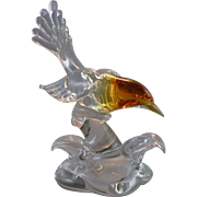 Seguso AV Amber Headed Bird Sculpture with Label