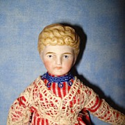 Blond Doll House Doll very curly molded hair