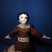 China Doll house doll 1860 in a long gown