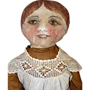 Early Oil Painted Folk Doll
