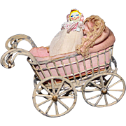 Metal Doll house size stroller and doll
