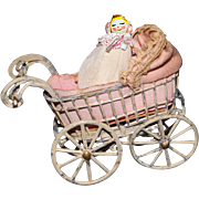 Painted Metal Doll Carriage