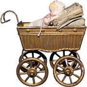 Tin Doll Carriage and baby Doll