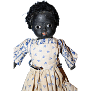 Black Paper Mache Doll with Glass Eyes