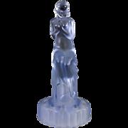 Blue Glass Flower Frog, Sitting Woman