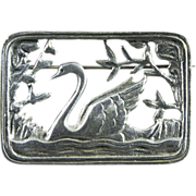 Danish Sterling Silver Swan Brooch, Early  Volmer Bahner Skonvirke Design