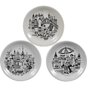 Arabia of Finland, Set of 3 Small Emilia  Plates