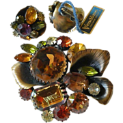 Large jeweled- Vendome pin with earrings