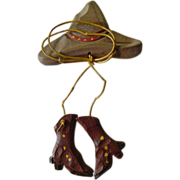 Great hand crafted-1930's- Cowgirl pin