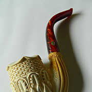 SOLD Fabulous hand carved Meerschaum pipe- Signed