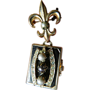 """SOLD signed """"Coro"""" picture locket-Pin"""
