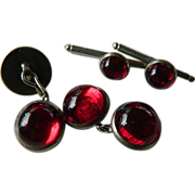 1930's-Red glass stones- Cuff links and Collar studs