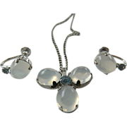 Signed- Van Dell- Moonstone and Sterling- Pendant-chain With earrings