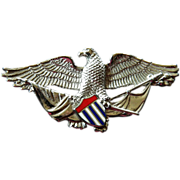 Gorgeous sterling silver- and Enameled- Eagle pin
