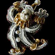 K.J.L.-Kenneth J. Lane- signed- jeweled Clown pin