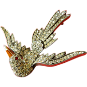 Great vintage-Jeweled bird-Pin
