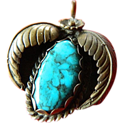 Vintage Native American silver and turquoise Pendant