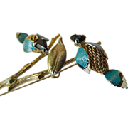 unique- vintage Castelcliff- two mesh birds-Pin