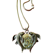 Two fish and MOP- ornament- Necklace with Chain