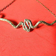 Sterling-two snakes- Necklace