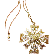 Early KJL-Kenneth J. Lane pendant -pin with Chain