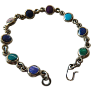Native American made- silver -Stones link Bracelet
