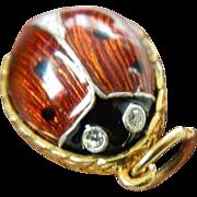 Russian enameled Egg charm- Ladybug