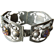 SOLD Exquisite- Hand Made- Mexican sterling & stones- Bracelet