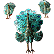 Sterling -enameled- three piece Peacock set