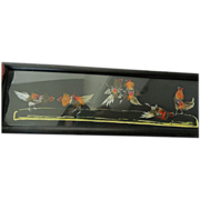 "Panoramic-glassed picture- Feathers-""The Cock fight"""