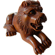 SOLD Beautiful Hand carved-Lion netsuke