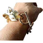 Enameled elephant head-big chain link-Bracelet