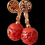 SALE Chinese motif-Cinnabar carved earrings