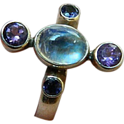 SALE Sterling ring set With-Indian moonstone & amethyst