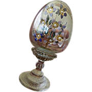 SOLD Gorgeous glass pedestal etched Egg-Encased wire and enameled Flowers