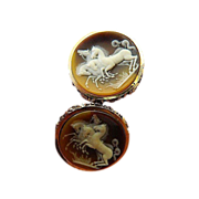 Fabulous- signed Dante- incolay -carved Cameo Cuff links-Museum collection