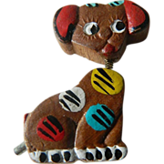 1930's folk art-Bobble head Dog pin