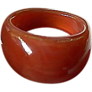 Domed- carved-Carnelian ring