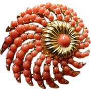 signed-Crown Trifari- Coral color swirl Pin